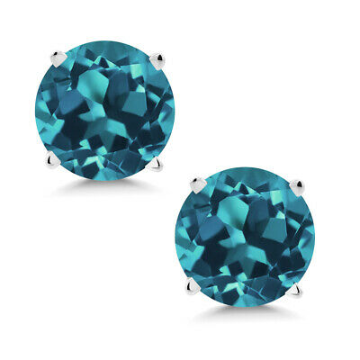 Sky Blue Topaz Stud 14K Solid WG 1.1ct 5mm Round Earrings Gift Box March Genuine