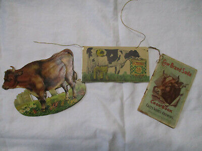 Sm.early Purina Cowchow Guide,  Cardboard Guernsey Cow , Cow Brand Soda Cookbook