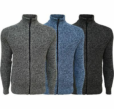 Mens Ex-F&F Full Zip Up Cardigan Knitted Funnel Neck Sweater Long Sleeve Jumper