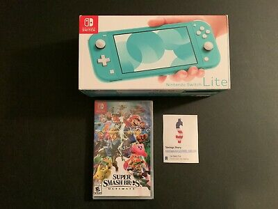 Nintendo Switch Lite Bundle With Super Smash Bros Ultimate Game Turquoise