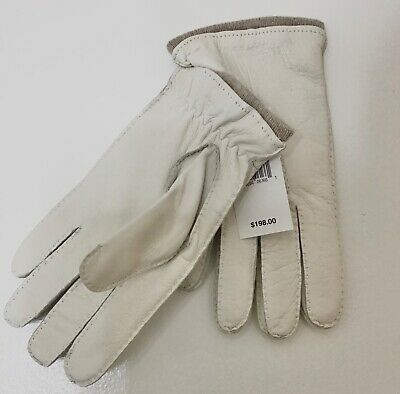 Saks Fifth Ave BRAND NEW 100% cashmere & leather luxury gloves w/ tags 60% off