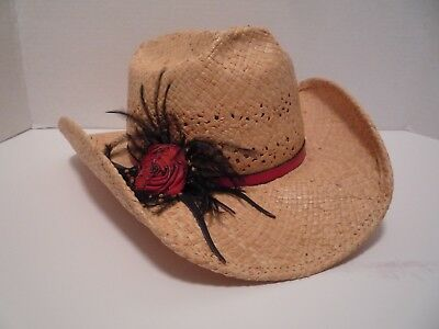 Shady Brady Straw Hat With Red Leather Band with Rose & Feathers  Size Small