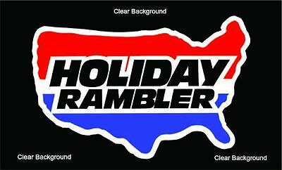 HOLIDAY RAMBLER RV LOGO Lettering decal Graphic Black 6 inch diameter