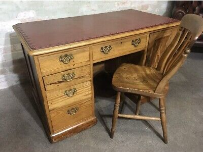 Antique Solid Pine Desk With Leather Top & Chair . Delivery Available Most Areas