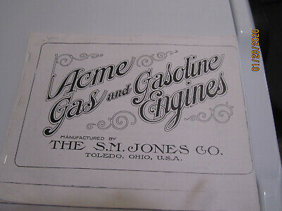 S M Jones Acme Gas And Gasoline Engine Catalog