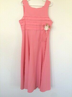 Bonnie Jean Girls Long Dress Size 10 Pink Coral Easter Bridal Sleeveless