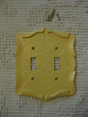 Vintage Yellow Painted Brass? Double Switch Plate Wall Cover Shabby Cottage Chic