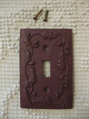 Purple Painted Ceramic Single Switch Plate Wall Cover Shabby Cottage Chic