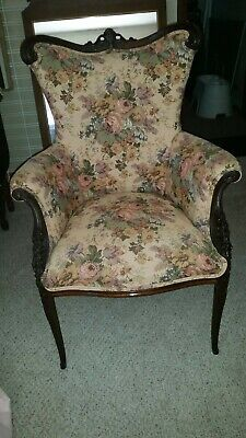 Antique Highback Chair reconditioned but original walnut, recovered woven floral