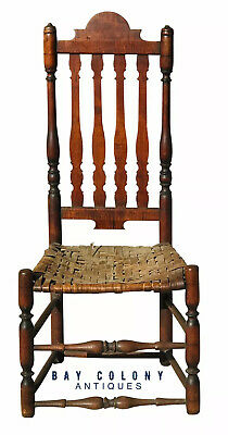 18Th C Antique Country Primitive William & Mary Tiger Maple Banister Back Chair