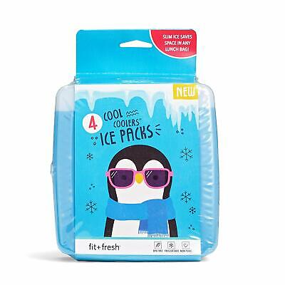 Set of 2 Flexible Ice Packs for Lunch Boxes Lunch Bags and Coolers Fit /& Fresh Soft Cool Coolers Ice Packs for Kids Multi Color 10300KFFWBPK
