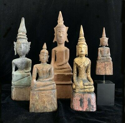 Group of 5 antique wooden primitive tribal Lao folk Buddha statues 19th-20th c