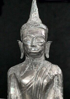 Antique silver repousse Cambodia SE Asian Buddha on ornate throne 19th-20th c