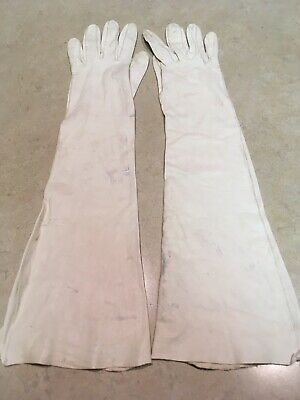 Vintage Opera Length Gloves - Thin Leather - Small
