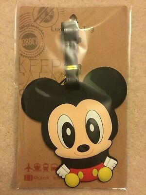 Cute Baby Mickey Mouse Silicone PVC Cartoon Travel Luggage Tag School