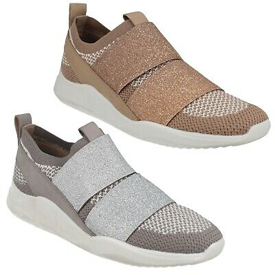 Sift Slip Ladies Clarks Knitted Casual Walking Summer Shoes Slip On Trainers