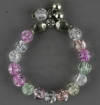 Collect Natiral Crystal & Tibet Silver Carve Smooth Bead & Fish Noble Bracelet
