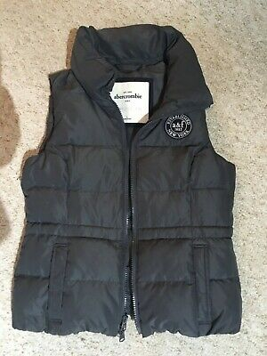 Girls Abercrombie and Fitch Gilet in Grey Size L down feather polyester fibre