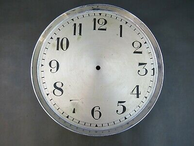 Vintage clock dial face with chrome bezel 27 cm diameter for spares or parts