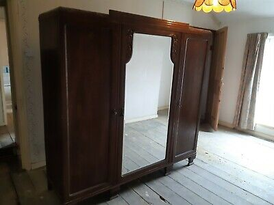 Antique triple wardrobe with mirror, internal drawers