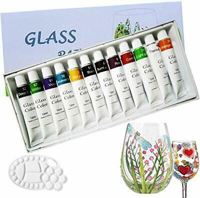 Glass Paint 12 Colours with Painting Palette, 12x12ml