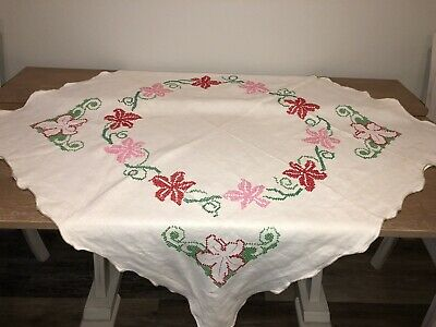 "VTG Pink Floral Cross Stitch Embroidered Linen Tablecloth Topper 38"" Sq AS IS"