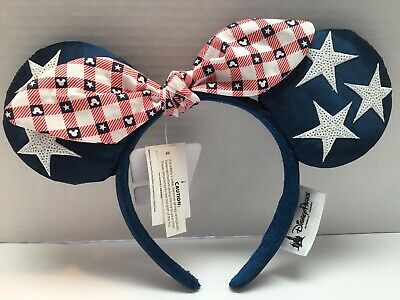 DISNEY PARKS  Satin Minnie Mouse Ear Headband - ALL AMERICAN GIRL Stars  Bow NWT