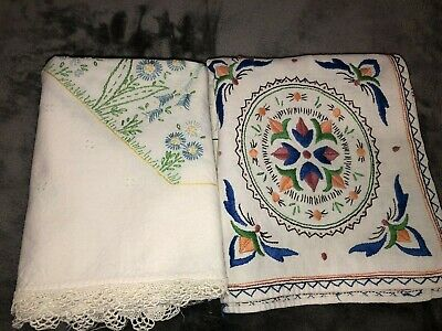 "Lot of 2 VTG Embroidered Linen Tablecloth/Toppers 31"" Square CUTTER CRAFT As is"