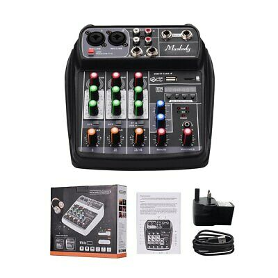 Digital Audio Mixer 4-Channel Compact Sound Card Mixing Console  BT Muslady AI-4