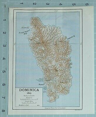 Map/Battle Plan Dominica 1805 Fort Cabril Prince Rupert Bay Roseau
