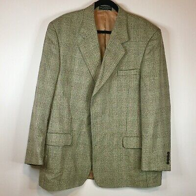 Gianfranco Ruffini Mens Brown Houndstooth Wool Sport Coat Blazer Jacket Size 46L