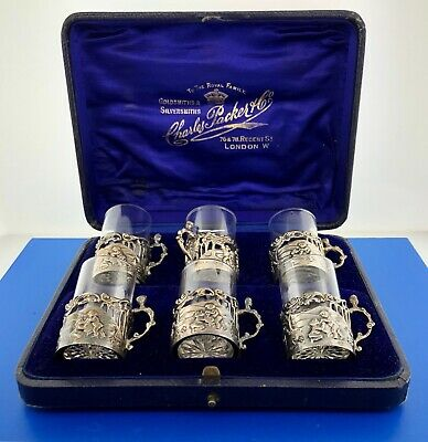 Rare Victorian William Comyns Charles Packer & Co London Sterling Tot Glass Set