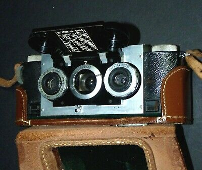 Antique Vtg Stereoview Retro 3D Stereo Realist Film Camera W/ Leather Case