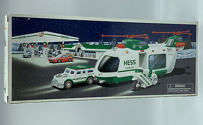 2001 Hess Toy Helicopter with Motorcycle and Cruiser NIB Mint Never Opened J*
