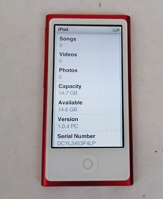 Red Apple iPod Nano 7th Generation Red 16 GB