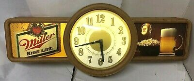 "Vintage MILLER Beer HIGH LIFE Lighted Clock Bar Sign Advertisement 30"" lg 1988"