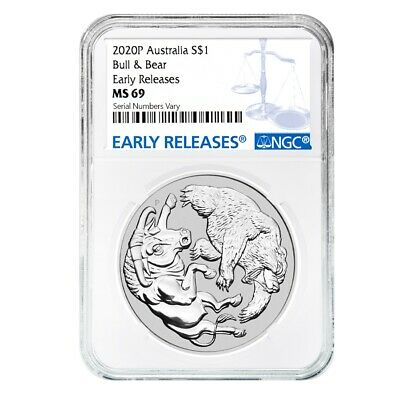 2020 1 oz Silver Australian Bull and Bear Coin Perth NGC MS 69 Early Releases