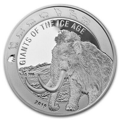 2019 Ghana The Giants Of The Ice Age Series Woolly Mammoth 1 oz Silver BU Coin
