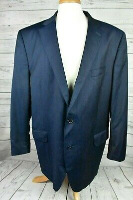 Peter Millar Sport Coat Blazer Suit Jacket Navy Blue Striped Wool Sz 46L