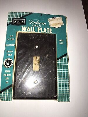 Vintage MCM Sears Delux Toggle Switch Bakelite Brown Cover Plate