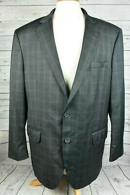 Peter Millar Sport Coat Blazer Suit Jacket Gray Plaid Check Wool Mens Sz 44 L
