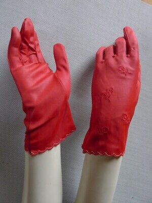 Vintage retro 50s size 7 red short gloves very good embroidered