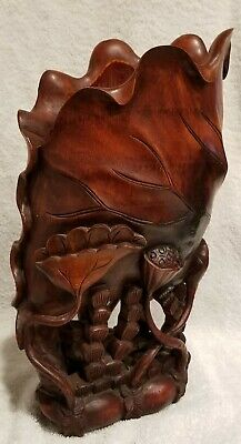 Stunning Detail!! Large & Intricate Lotus Wood Sculpture A Must See Beauty!!