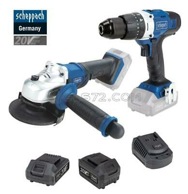 Kit Cordless Impact Drill + Angle Grinder + 2 Batteries 20V Scheppach