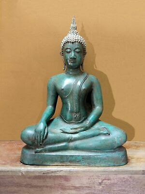 ANTIQUE BRONZE FIGURE OF A MEDITATING SUKHOTHAI BUDDHA, TEMPLE RELIC. 19/20th C