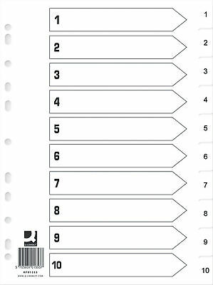 Q Connect Index 1-10 Polypropylene White (Pack of 25) KF01353Q