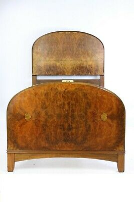 Art Deco Burr Walnut Single Bed - 1903s Retro Antique Vono Bedframe Bedstead