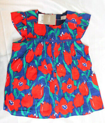 Next Girls Cotton Summer Dress Age 5-6 Years Blue & Red BNWT   8/25