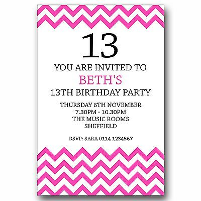 10 Personalised 13th Birthday Party Teenager Invitations Invites ANY AGE T243