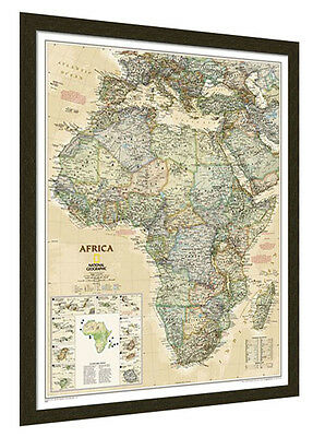 "Framed Africa Map - National Geographic Executive - 26"" x 33"""